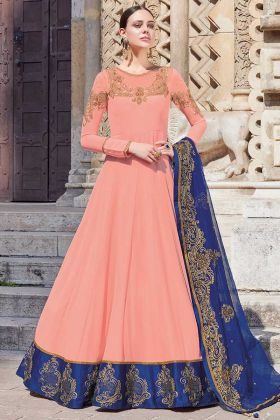 Heavy Embroidery Georgette Light Peach Anarkali Suit