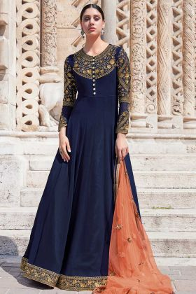 Heavy Embroidery Georgette Navy Blue Anarkali Suit