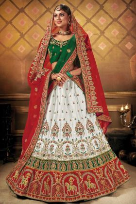 Heavy Embroidery Multi Work Malai Satin Fabric Bridal White Lehenga