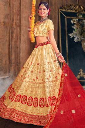 Heavy Embroidery Satin Silk Gold Color Lehenga Choli