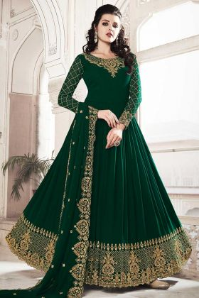Heavy Georgette Anarkali Salwar Suit Dark Green Color