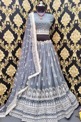 Heavy Georgette Designer Grey Lehenga Choli For Pretty Looking