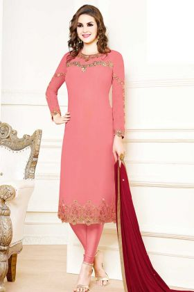 Heavy Georgette Designer Straight Suit In Pink Color