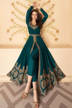 Heavy Georgette Rama Color Embroidered Anarkali Suit For Wedding