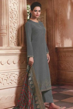 Heavy Grey Salwar Suit With Jacquard Silk