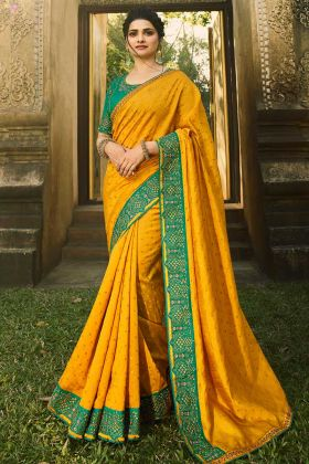 Heavy Look  Designer Saree Chinon Chiffon In Mustard And Turquoise