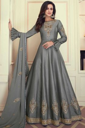 Heavy Maslin Silk Grey Color Beautiful Anarkali Suit