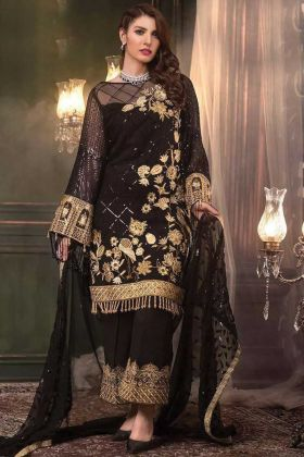 Heavy Net Black Pakistani Style Suit For Eid
