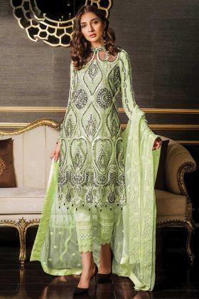 Heavy Net Pista Green Party Wear Pakistani Salwar Suit