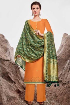 Heavy Nylon Chanderi Orange Palazzo Pant Style Suit