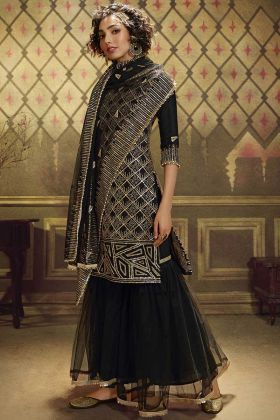 Heavy Party Wear Black Stylish Sharara Suit In Soft Net Fabric