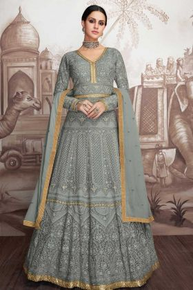 Heavy Party Wear Stitched Grey Color Anarkali Salwar Suit