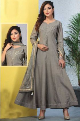 Heavy Reyon Mal Cotton Grey Readymade Kurti With Dupatta