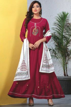 Heavy Reyon Mal Cotton Maroon Readymade Kurti With Dupatta