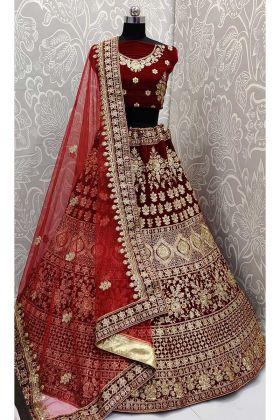 Heavy Semi Stitched Designer Lehenga Choli Maroon