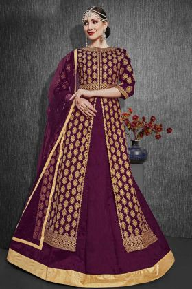 Heavy Silk Violet Wedding Indo Western Salwar Suit