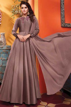 Heavy Soft Silk Designer Party Wear Beige Gown