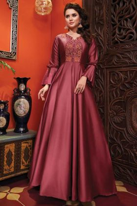 Heavy Soft Silk Designer Party Wear Dark Peach Gown