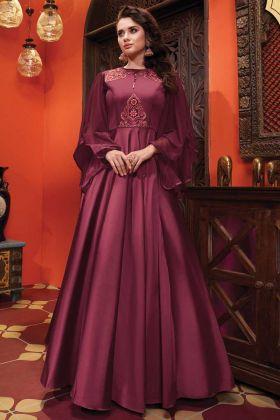Heavy Soft Silk Designer Party Wear Maroon Gown