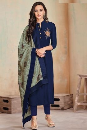 Heavy Zam Cotton Navy Blue Woman New Dress Collection