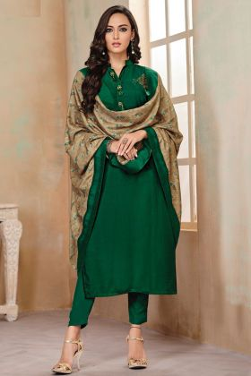Heavy Zam Cotton Running Formal Wearing Green Kurti