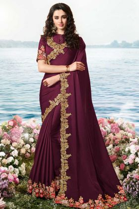 Heavy Zari Work Viscose Tussar Satin Silk Saree For Girls