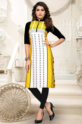 Heavy American Crepe Casual Kurti Yellow White Color