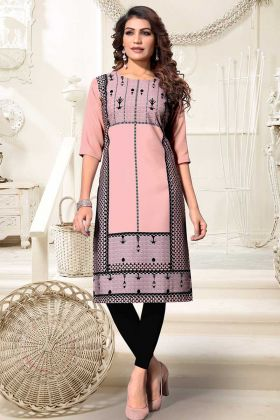 Heavy American Crepe Designer Kurti Peach Black Color