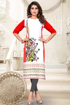 Heavy American Crepe Digital Printed Kurti White Red Color