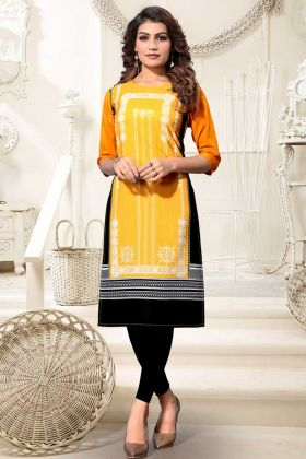 Heavy American Crepe Digital Printed Kurti Yellow Black Color