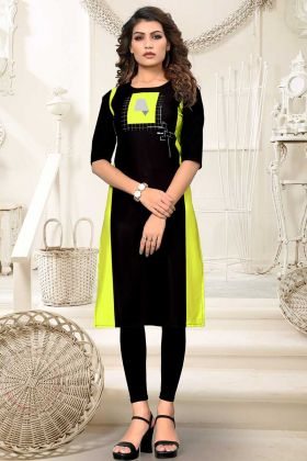 Heavy American crepe Kurti Fully Stitched Black Parrot Color
