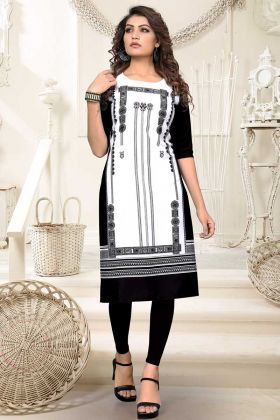 Heavy American Crepe Printed Kurti White Black Color