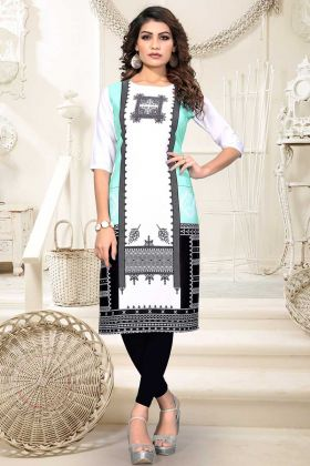 Heavy American Crepe Stylish Kurti With Digital Print White Color