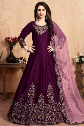 Heavy Anarkali Dress Embroidered Neck Line And Panel Art Silk Wine Color