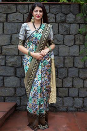 Heavy Banarasi Patola Silk Grey Traditional Saree