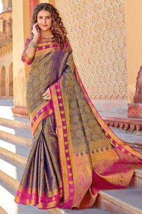 Heavy Banarasi Saree Art Silk Navy Blue Color