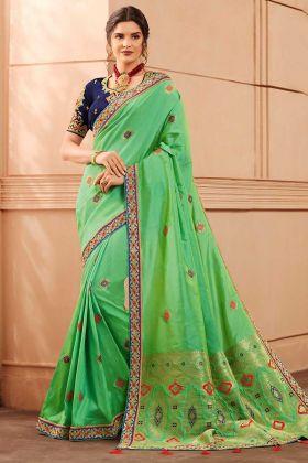 Heavy Banarasi Silk Designer Saree Hand Fancy Embroidery Work In Green Color