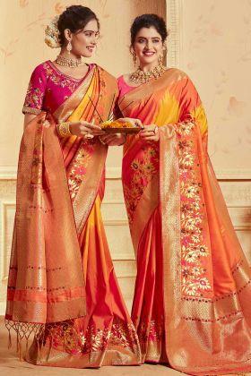 Heavy Banarasi Silk Jacquard Wedding Saree Thread Zari Work In Orange and Yellow Color