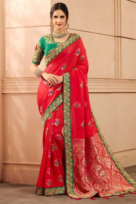 Heavy Banarasi Silk Red Saree With Hand Fancy Embroidery Work