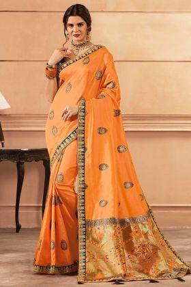Heavy Banarasi Silk Saree Thread Zari Work In Light Orange Color