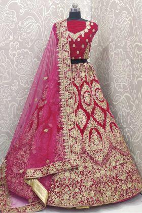 Heavy Bridal Lehenga Choli Rani Pink Color For Brides