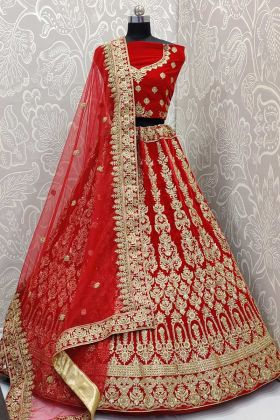 Heavy Bridal Red Lehenga Choli In Velvet Fabric