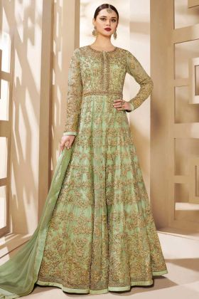 Heavy Butterfly Net Anarkali Salwar Suit In Green Color