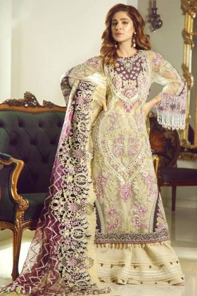 Heavy ButterFly Net Pakistani Salwar kameez Heavy Hand Work In Cream Color