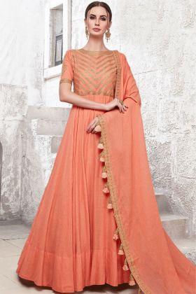 Heavy Cotton Maslin Peach Festive Gown