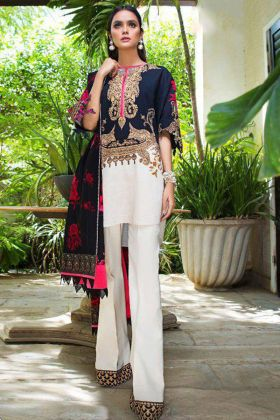 Heavy Cotton Pakistani Dress Embroidery Work Heavy Cotton Fabric In Blue Color