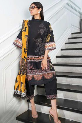 Heavy Cotton Pakistani Dress Embroidery Work In Black Color