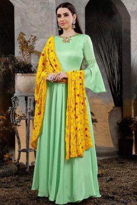 Heavy Cotton Slub Maslin Green Festive Gown