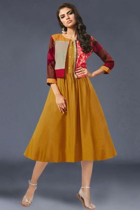 Heavy Crepe Jacket With Rayon Kurti