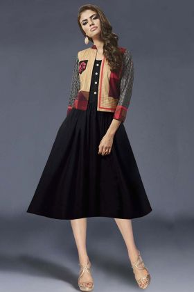 Heavy Crepe Jacket With Stylish Rayon Kurti